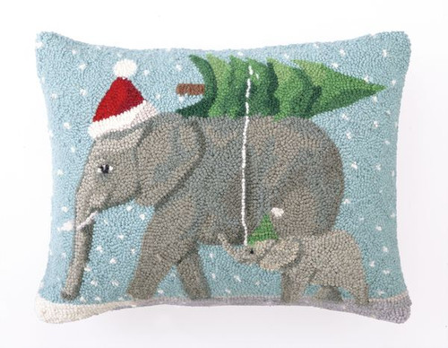 CHRISTMAS ELEPHANTS Pillow 14x18""