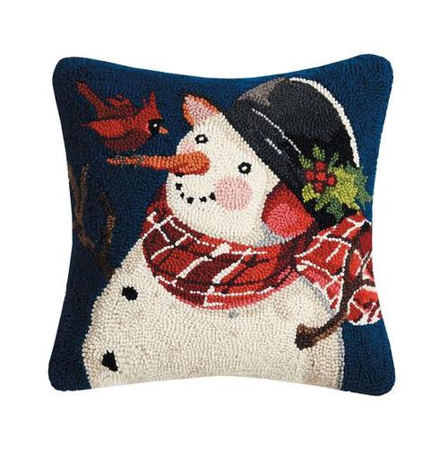 """SNOWMAN WITH CARDINAL Pillow 16X16"""""""