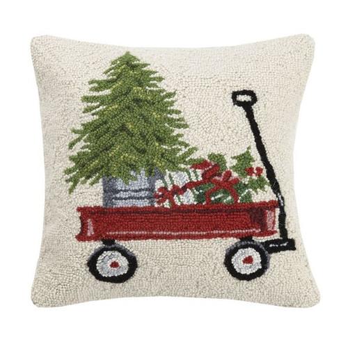 "PRESENTS & TREE ON WAGON Pillow 16X16"""