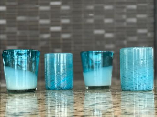 Handblown Glasses - Aqua, Set of 4