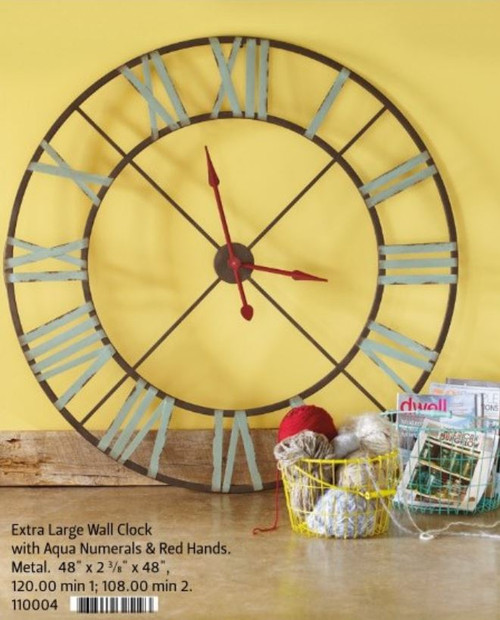 Extra Large Wall Clock with Aqua Numerals & Red Hands