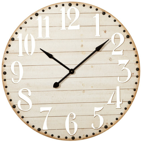 Whitewash Wall Clock with Cut Out Numbers