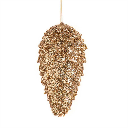 9 Inch Gold Glitter Pinecone