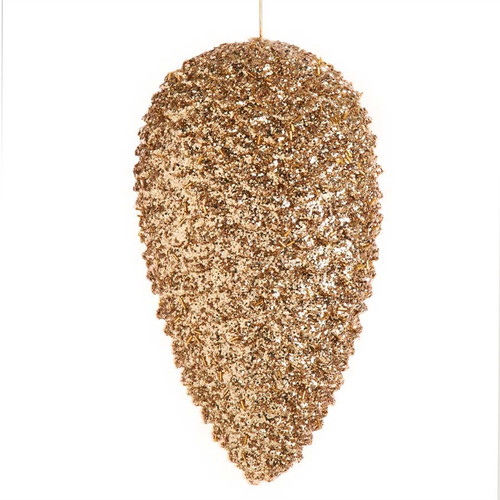 12 Inch Gold Glitter Pinecone