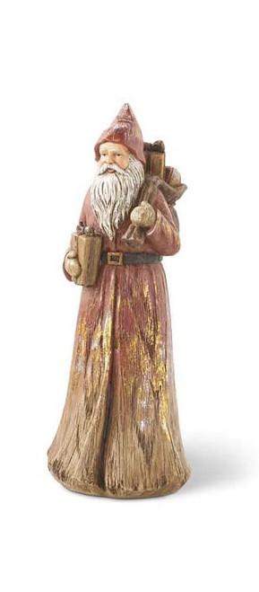 12 Inch Assorted Resin Wood Santa - w/ Sack