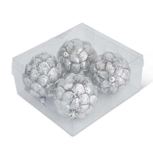 4.5 Inch Silver Glittered Round Pinecone Ornament