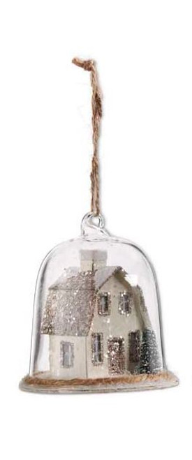 Glass Dome Ornament w/House Inside - Dutch