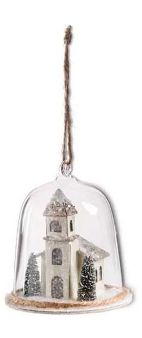 Glass Dome Ornament w/Houses Inside - Tower
