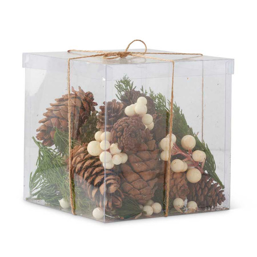 Box of Mixed Pine & White Berry Pieces w/Pinecones