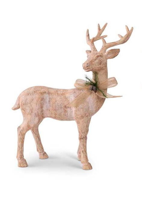 19.5 Inch Resin Natural Wood Reindeer w/Bow - Right