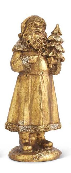 Antique Gold Glittered Santa with Tree