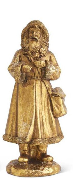 Antique Gold Glittered Santa with Tote