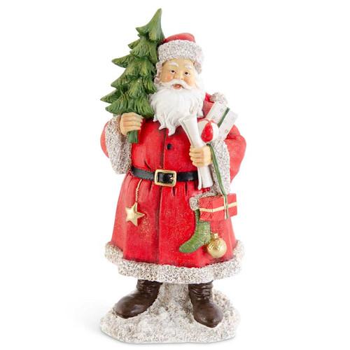 13 Inch Glittered Resin Traditional Santa w/Tree