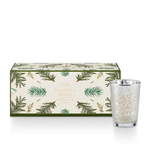 Balsam & Cedar Mini Luxe Sanded Mercury Glass Candle Set