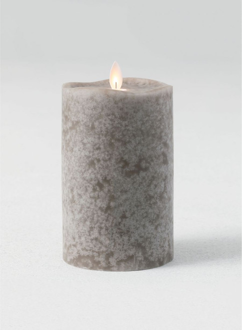 "Mottled Gray Flameless LED Pillar Candle with Wave Top, 6""H"