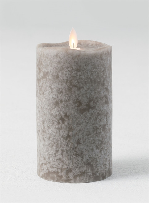 "Mottled Gray Flameless LED Pillar Candle with Wave Top, 8""H"