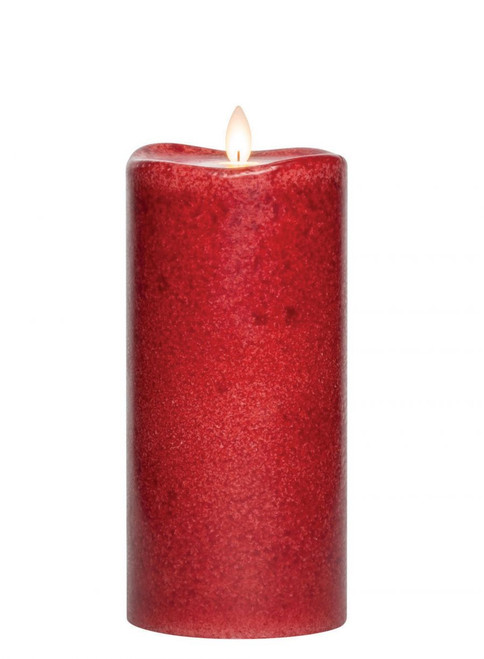 "Chili Mottled Led Pillar Candle, 8""H"