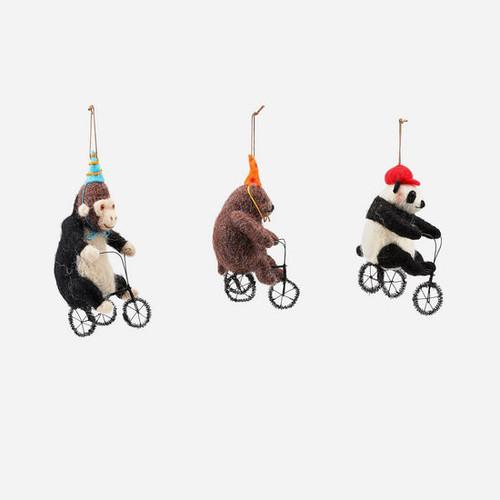 Bicycling Animal Ornament
