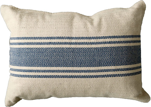 Cotton Canvas Pillow W/ Stripes, Blue