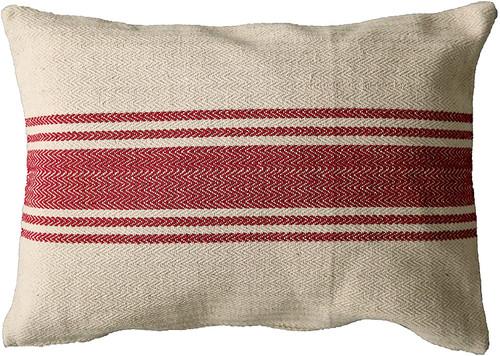 Cotton Canvas Pillow W/ Stripes, Red