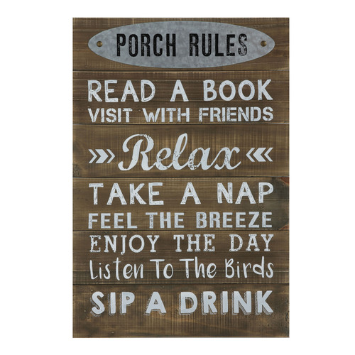 "Wood Wall Decor ""Porch Rules"