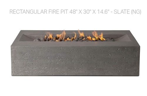 "Rectangular Fire Pit 48"" x 30"" x 14.6"" - Slate (Natural Gas)"