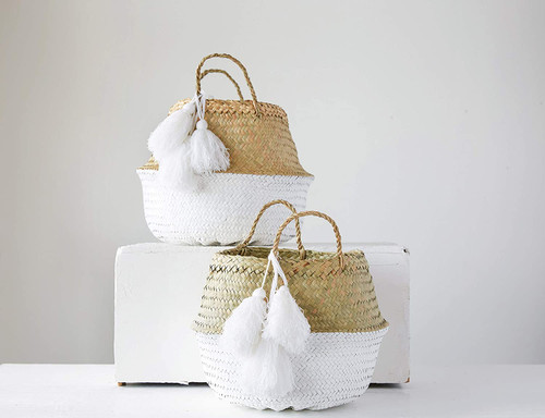 Round Painted Palm Leaf Collapsible Baskets