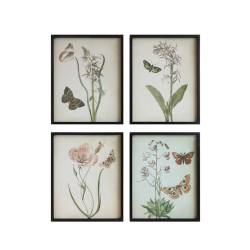 Wood Framed Wall Decor W/ Flowers & Butterflies