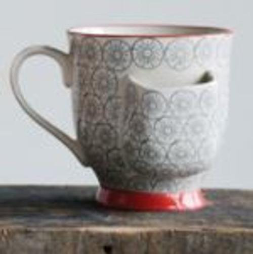 Hand-Stamped Stoneware Mug W/ Tea Bag Holder