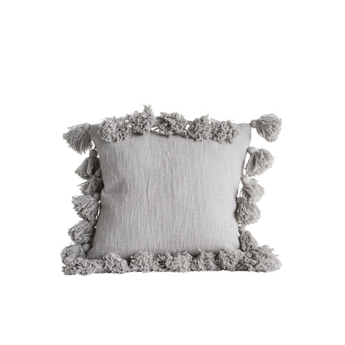 "18"" Square Cotton Pillow w/ Tassels, Grey"