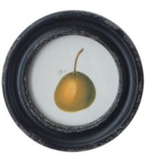 Round Framed Vintage Reproduction Pear Wall Decor, Style C