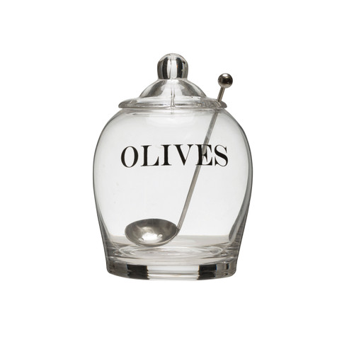 "Glass Jar ""Olives"" w/ Spoon"