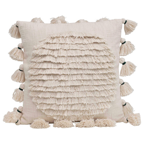 "20"" Square Cotton Embroidered Pillow w/ Fringe & Tassels, Natural"