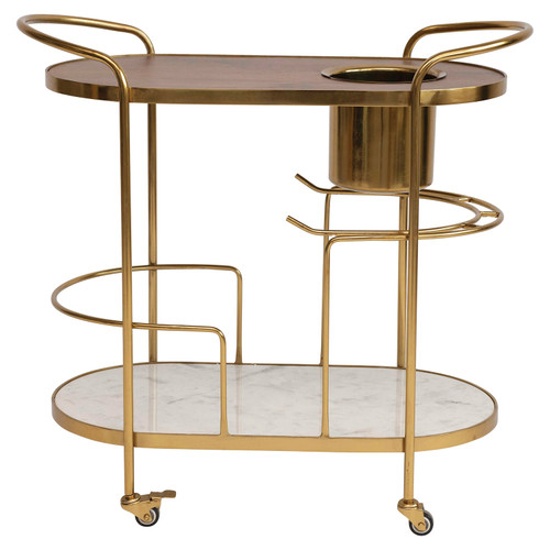 2-Tier Metal Bar Cart on Casters
