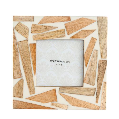 "7"" Square Wood & Resin Photo Frame"