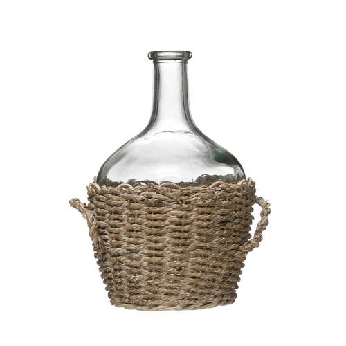 Glass Bottle in Woven Seagrass Basket w/ Handles