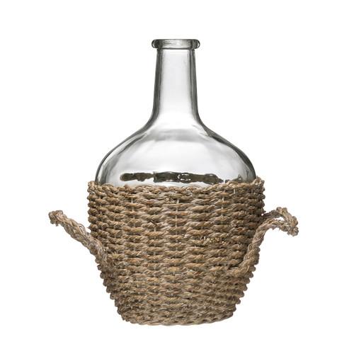 "Glass Bottle in Woven Seagrass Basket w/ Handles - 12-1/2""H"