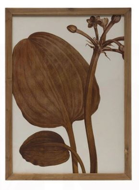 Wood Framed Wall Decor with  Botanical Image, Sienna Color - Style B