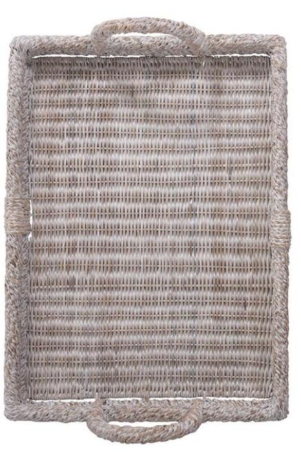 Decorative Rattan Trays w/ Handles, Whitewash