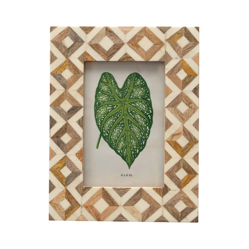 Patterned Photo Frame, Brown & Ivory