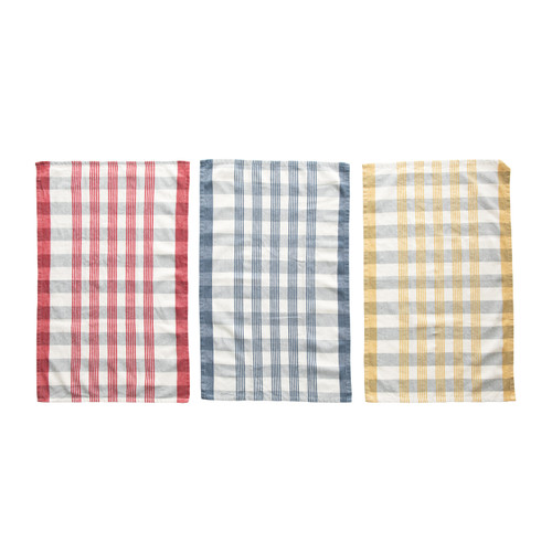 Cotton Check Tea Towels, 3 Colors, Set of 3