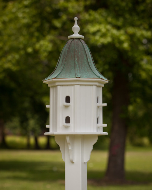 """14"""" Songbird House - 8 Perches -Patina Copper Roof - Bell"""