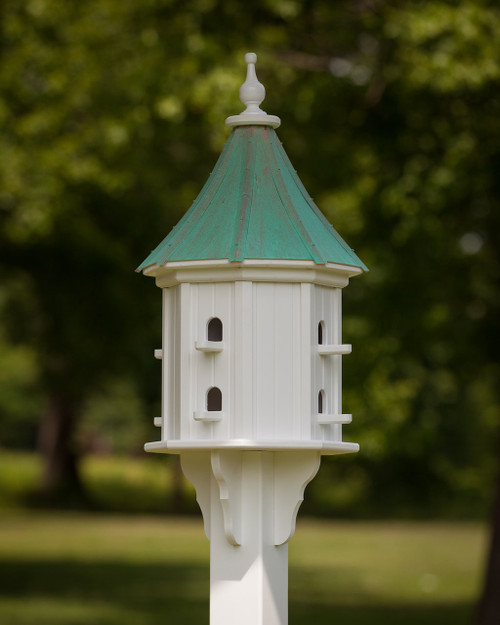 """14"""" Songbird House - 8 Perches -Patina Copper Roof - Slope"""