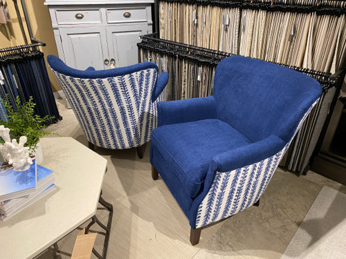 Sample Sale 45% OFF PAIR Made in the USA Lee Chair in Caroline Indigo and Phifer Indigo Fabrics