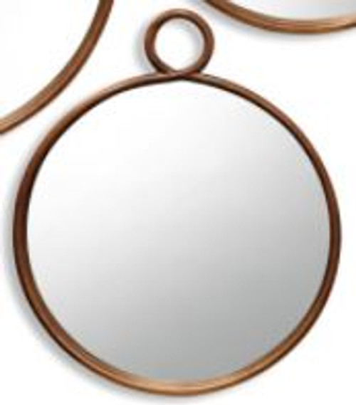 Round Bronze Metal Wall Mirror, Small