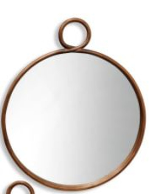 Round Bronze Metal Wall Mirror, Medium