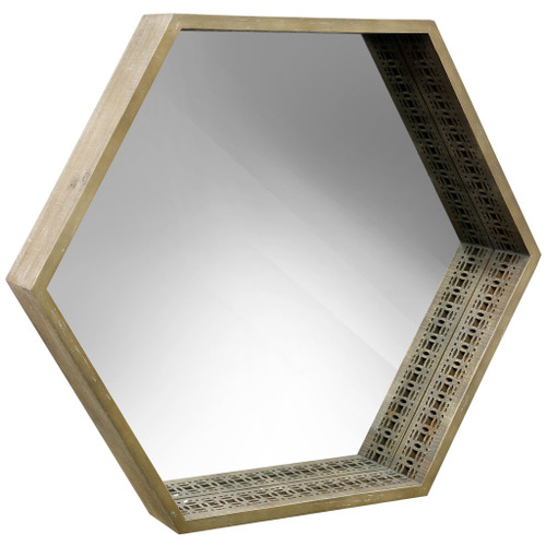 Wooden Framed Mirror with Cutouts