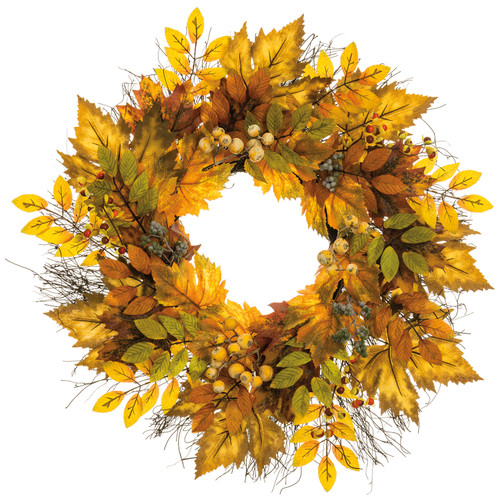 "28""MAPLE LEAF/BERRY WREATH"