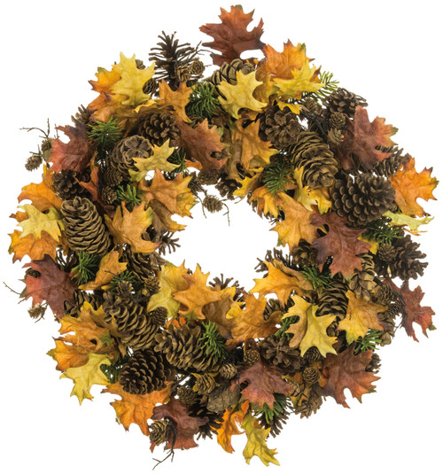 "24""OAK LEAF/PINE CONE WREATH"