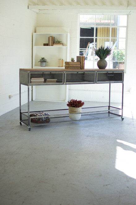 Rolling Metal Console \ Wire Mesh Drawers & Wood Top